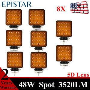 8X 4inch 48W LED Square Work Lights SPOT 5D+ Amber fit Jeep JK YJ Ford Truck NEW