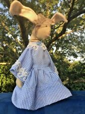 """Primitive MISS BUNNY RABBIT Handmade Doll In Seer Sucker Granny Dress 12"""" ❤️j8"""