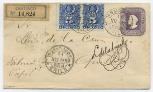 CHILE 1889 5cts PSE with added pair, Santiago to Quillota, Blue Santiago Label