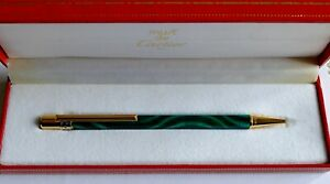 CARTIER DE MUST CARTIER MALACHITE GREEN BALLPOINT ***RARE*** W BOX