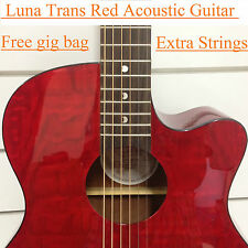 GYP E QA TRD Gypsy Quilted Ash Acoustic-Electric Guitar Trans Red + Free Gig bag