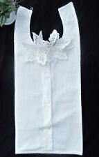 Vintage Antique White Button Front Jabot Dickie Collar Removable Cutout Flowers
