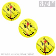 """3 Pack Gel Top Domed Glossy 3/4"""" 3M Premium Decal Stickers SMILEY FACE BULLET"""
