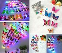 24 Pcs/Set Glowing 3D Butterfly LED Wall Stickers Night Light DIY Home Decor US