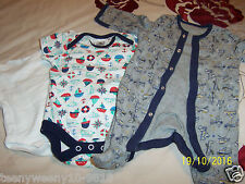 Babygrow and 2 vests newborn white multi