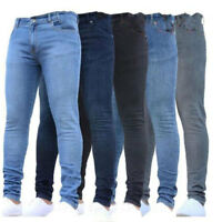 Men's Chic Moto Biker Straight Leg Solid Jeans Denim Pants Slim Skinny Trouser