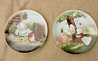 "Vtg Royal Bayreuth Sun-Bonnet Babies PLAYTIME SERIES Plates ""Marbles"" ""Swinging"""
