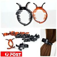 3pc/ Ponytail Grip Holder 4cm Hair Cuff Claw Jaw Clip Styling Clamp BLACK BROWN