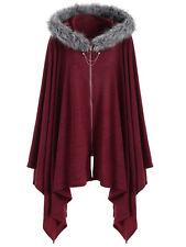 Women Warm Fur Hooded Cardigan Casual Zipper Cape Cloak Jacket Poncho Coat Tops