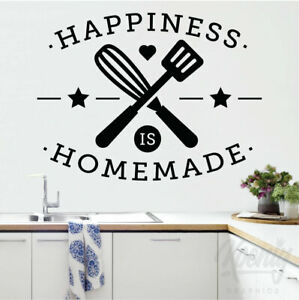 Happiness Is Homemade Chef Kitchen Mum Tea Food Decal Wall Art Sticker Home Love