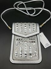 Evening Purse Cell Phone Bag Silver Rhinestone Faux Leather Sparkle Bling NEW
