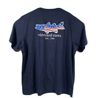 VINEYARD VINES Men's S/S Pocket Tshirt Fish American Flag Sz 2XL Navy- NEW TAGS