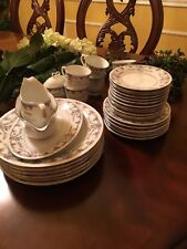 VINTAGE Dishes,CHINA LOT by PAGODA LILING CHINA, SILVER TRIM, FLORAL PATTERN