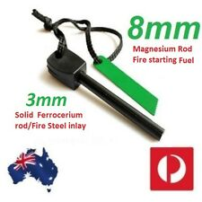 2 x FIRE STARTERS Solid Magnesium fuel Rods with Solid Ferrocerium inlay