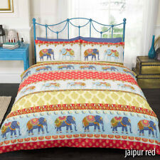 Ethnic Moroccan or Indian Elephant Floral Paisley Print Duvet Quilt Cover Set Double Red