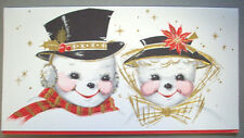 Mr and Mrs Snowman  CHRISTMAS VINTAGE GREETING CARD *Q