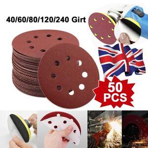 "50 - 125mm - 5"" Sanding Discs 40 60 80 120 240 Grit Orbital Sander Pads"