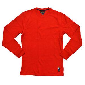 Polo Ralph Lauren Mens T-Shirt Waffle Thermal Long Sleeve Bear Logo M L Xl Xxl