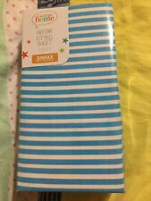 George Home Easy Care Fitted Sheet Blue Striped Single Cotton Blend