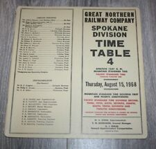 Great Northern Railroad 1968 Employee Timetable # 4 -  SPOKANE  Division