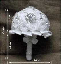 Sparkly Crystals Satin Artificial Bridal Bouquet Wedding Bride/Bridesmaid Flower
