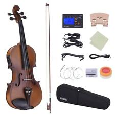 ammoon Full Size 4/4 Acoustic Electric Violin Fiddle Solid Wood Body Ebony Q6H9