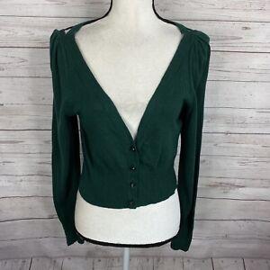 Anthropologie MOTH Womens Cropped Cardigan Sizez Large Green Cutout Detail