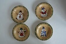 Three Rivers Pottery SNOWMAN FAMILY TREE set of 4 butter pat nut dish mini plate