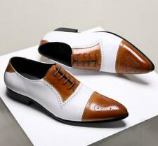 Men's Vintage Brogue Carved Pointy Toe Lace Up Leather Shoes Party Dress Shoes