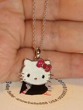 HELLO KITTY SANRIO SIMMONS  925 STERLING SILVER Enamel Red Bow Pendant Necklace