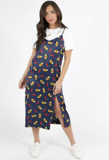 Womens Neon Rose Navy Avacoda Print Satin Slip Midi Day Casual Dress