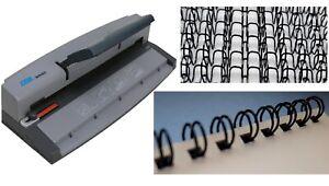 Wire Binder BOOK BINDING MACHINE Machine & Closer WITH 100 BLACK Binding Wires