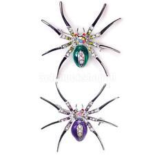 2 x Frauen Accessory Kristall Insekt Stil Brosche Spinne form Damen