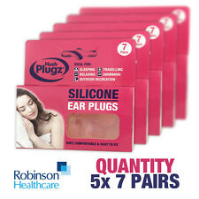 x5 Packs of x7 Pairs Genuine HUSH PLUGZ Silicone Earplugs Ear Defenders Sleep