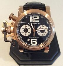 Mens Graham R.A.C. 18K Rose Gold Chronofighter Chrono - RARE EXHIBITION BACK!