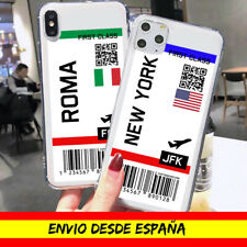 Funda Tarjeta Embarque Iphone 7 8 Plus 11 Pro Max SE 2020 Viaje Transpare Dibujo