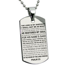 Stainless Steel Psalm 23 Lord Is My Sheperd Mens Dog Tag Necklace or Keychain