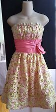 Betsey Johnson Evening Prom Beige Dress Sz 0 Strapless Yellow Pink Floral