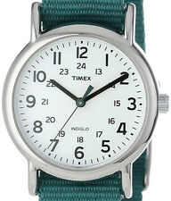 "$44.95 Timex Womens ""Weekender"" Green Nylon Strap Watch T2N915 DEFECTIVE INDIGLO"
