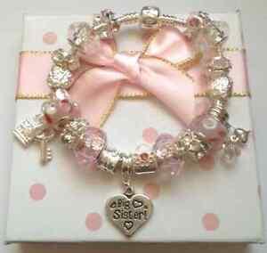 girls childrens ladies pink silver sparkling pretty charm bracelet in gift box