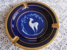 Vintage 5 7/8 Inch Gold, Cobalt Blue, And White Limoges Tharaud France Ashtray