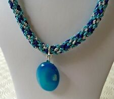 "Dyed Turquoise Agate Pendant on Silver, Dark Blue & Turquoise Kumihimo 21"" Cord"