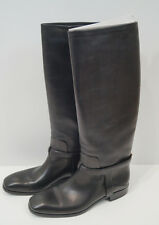 CHRISTIAN DIOR Black Leather Knee High Flat Riding Boots EU40 UK7