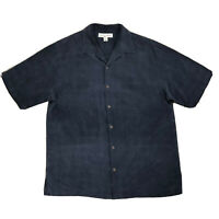 Tommy Bahama Mens Medium 100% Silk Black Shadow Palm Tree Hawaiian Shirt