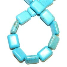 """NG2611f Blue-Green Turquoise 20x14mm Flat Rounded Rectangle Magnesite Beads 16"""""""