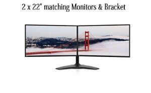 "2 X 22"" HP/DELL Monitor DUAL Monitor STAND 22"" Widescreen LCD Monitor VGA DVI"