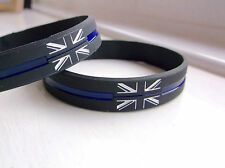 THIN BLUE LINE UNION JACK UK GB POLICE OFFICER MOURNING BADGE WRISTBAND BRACELET