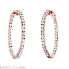 """14k Rose Gold Inside & Out Diamond Hoop Earrings 1.25"""" inch 2.90 Carat"""