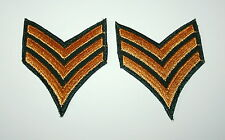 2 Vintage Vietnam War US Army Buck Sargent Stripes Cloth Uniform Patch New NOS