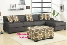 Sectional set of Sofa & Reversible Chaise Lenin Ash black color Furniture